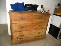 Vintage Solid Oak Chest of Drawers with matching Mini Chest.