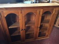 Large Pine Wall Cabinet / Display / Storage Kitchen / Lounge Good Condition