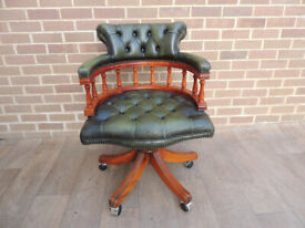 Captains Green Leather Chesterfield Traditional Chair (UK Delivery)