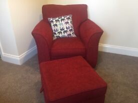 Like New ALSTONS red armchair sofa chair incl matching foot stall with storage
