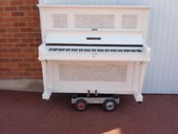 KEMBLE OVER STRUNG DECUPAGE SHEET MUSIC PAINTED WHITE £350 CAN DELIVER