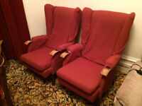 Two old fashioned fire side chairs
