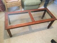 Glass panel wooden coffee table