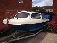 17 ft twin Engined Cabined Fishing Boat With trailer