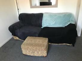 4 seater sofa, large armchair and foot pouf
