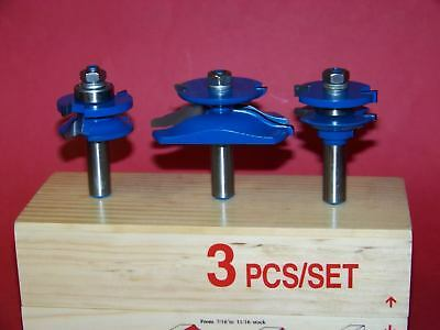 3 Pc 12 Shank Carbide Tipped Panel Cutter Router Bit Set Woodworking Tool