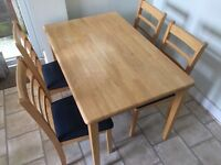 Kitchen Wooden Dining Table and 4 Matching Padded Chairs