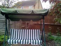 Swing for garden three seater green and white great asset for any garden