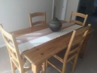 *Solid pine dining table & 4 chairs. *Solid pine tall draw unit
