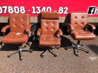 Brown leather button back swivel chairs £45 a piece (these came from a judges chambers)