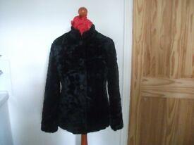 Black Short Faux Fur Coat - ZONA - Size 10
