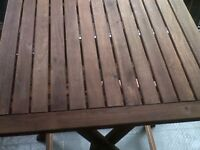 Perfect condition small patio table - wooden & folding