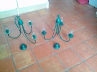 2 candelabra light fittings