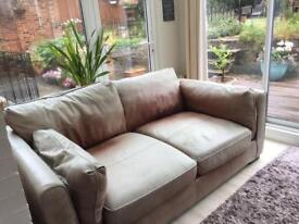 FREE - 2 seater brown leather sofa - used