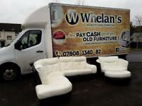DFS white leather corner group sofa with a dark brown leather trim, cuddle chair & puffee £350