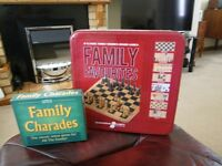 9 x classic family wooden board games,( new ) and a family chardes game ( new )