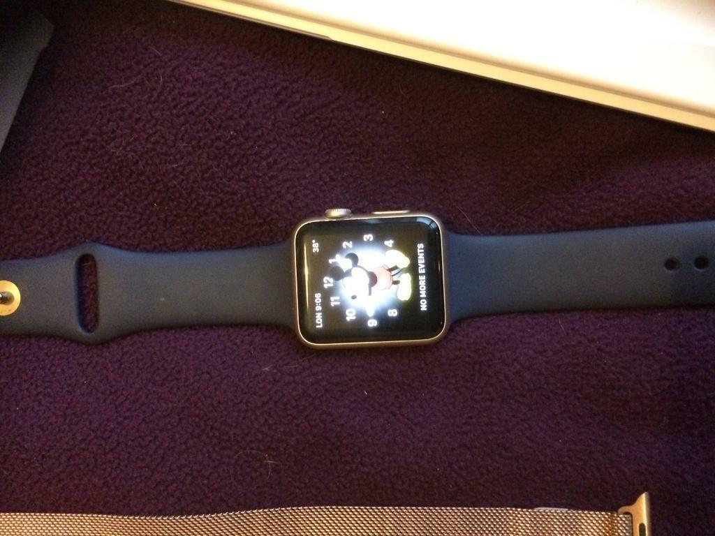 Apple watch sports editionin Houghton Le Spring, Tyne and WearGumtree - Apple Watch sports edition 42 dark blue strap with gold also with extra straps one orange one lime green and a gold strap all boxed in mint condition great watch like new loss of job forces sale other wise would never sell as I love this watch
