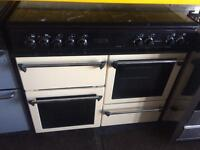 Black & cream leisure 100cm dual fuel cooker grill & double fan oven good condition with guarantee