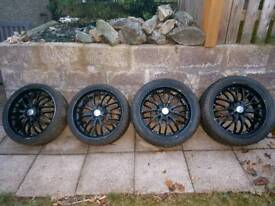 """Team Dynamics 18"""" alloys with good tyres 114.3 jap fitment"""