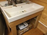 Large bathroom sink with wooden stand (used)