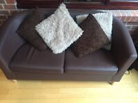 Leather Effect Tub Sofa - Chocolate Brown