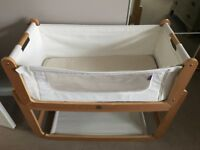Snuzpod Bedside Crib with natural coconut mattress, protector and fitted sheet