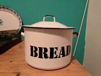 Old enamel hand painted bread bin