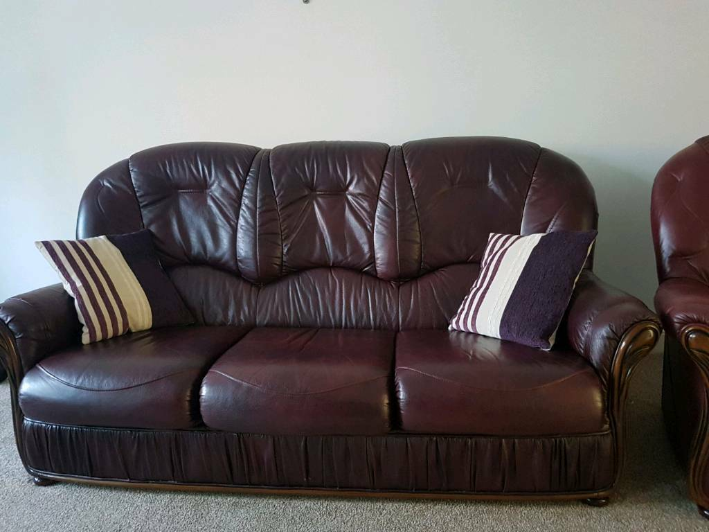 Italian Real Leather 3 Seater Sofa In Hatfield
