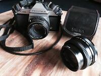 Pentax K1000 body with 50mm & 28mm lenses