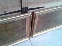 PAIR OF LOVELY PICTURE FRAMES PICTURES GOLD COLOUR LARGE IDEAL FOR MIRRORS READY TO HANG