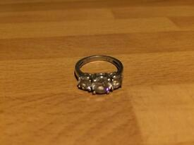 Ladies 3 Stone Sterling Silver Ring