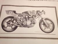 Vintage motorcycle drawings man cave art