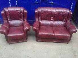 Superior 🎉🔥 IMMACULATE chesterfield 2 piece suite antique oxblood leather wingback chair sofa