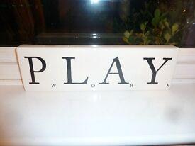 "Unusual ""Scrabble"" china ornament, Work/Play."