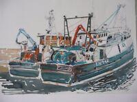 ORIGINAL WATERCOLOUR 2 trawlers at Eyemouth