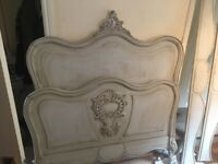 Antique French shabby chic double bed