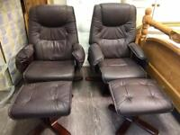 X 2 leather chairs with foot stools recliner