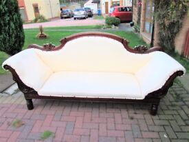 Victorian Mahogany Carved Scroll End Sofa/Couch/Settee