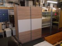 Brand new dallas 2 Door Oak Sliding Wardrobe - Oak & White 150CM Wide