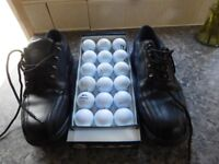 MENS GOLF SHOES AS NEW SIZE 10.5 PLUS 18 GOOD QUALITY GOLF BALLS