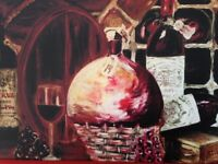 Wine cellar oil painting print