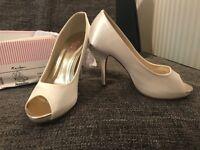 Rainbow Club Jennifer bridal satin platform peep-toe court shoes