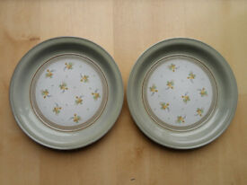 "1960's DENBY VERONA PATTERN 10.75"" WIDE DINNER PLATES X2"
