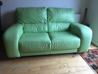 Lime green leather 2 seater sofa
