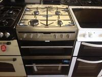 Silver steel finish gas cooker (double gas oven)