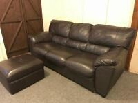 large dark brown full leather ~ 3 seater sofa Suite & Matching footstool