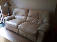 Reclining white leather sofa and chair