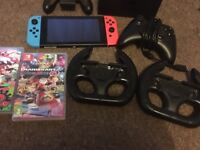 Nintendo Switch console with box, 2 games & accessories