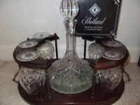 Shetland Crystal Decanter and 6 Brandy Glasses on wooden stand