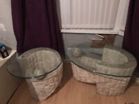 Two glass top stone/ marble tables